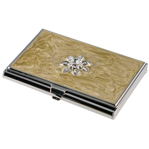 Bloom Taupe Lacquer with Flower Crystals Women's Business Card Case - Personalized