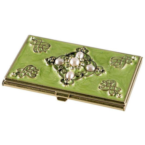 Celeb Green Lacquer with Crystals Women's Business Card Case - Personalized