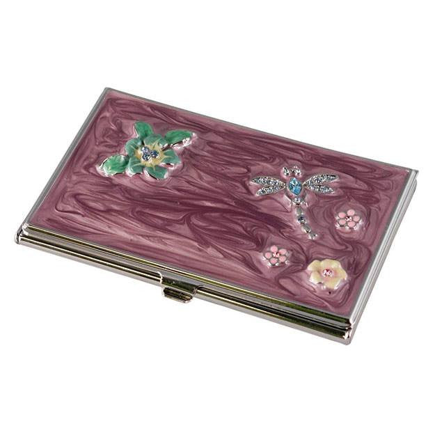Dragonfly Crystals and Lacquer Women's Business Card Case - Personalized