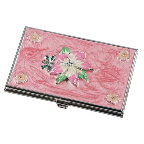 Tanisha Pink Flower with Crystals Women's Business Card Case - Personalized