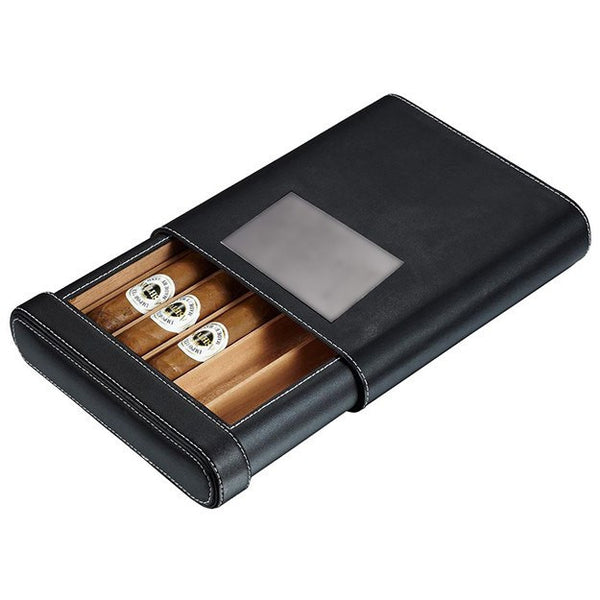 Personalized Rennes Black Leather Cigar Case - 5 Cigars