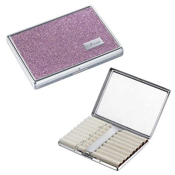 Engravable Brooklyn Cigarette Case - Purple Glitter