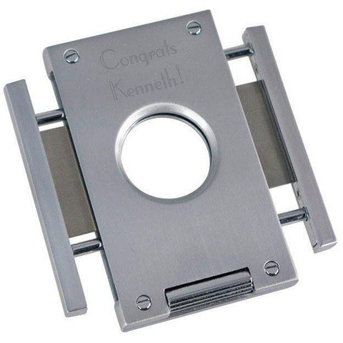 Caseti Churchill Brushed Metal Cigar Cutter with Engraving