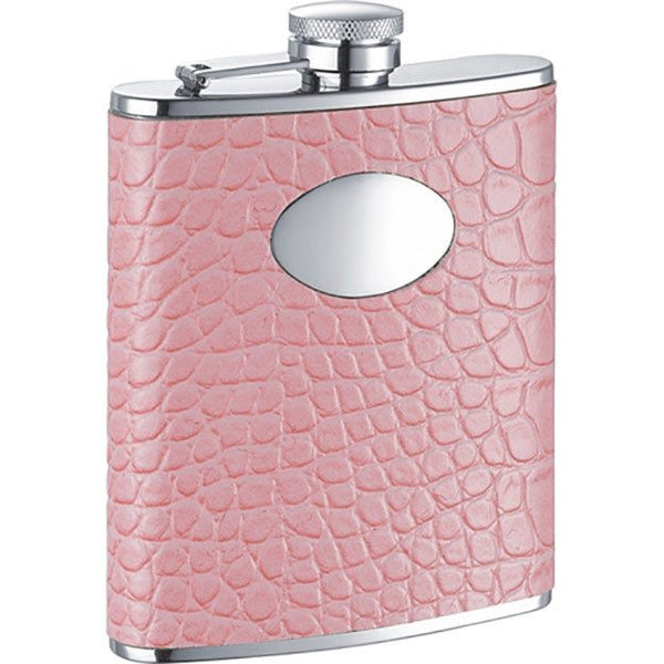 Annabella Light Pink Synthetic Leather Stainless Steel 6oz Hip Flask - Personalized