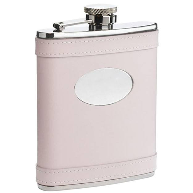 Satisfaction Pink Leather 6oz Flask - Personalized