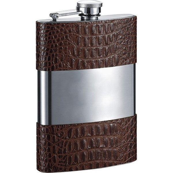 Zarin Handcrafted in USA Brown Leather Flask - 8 oz - Personalized