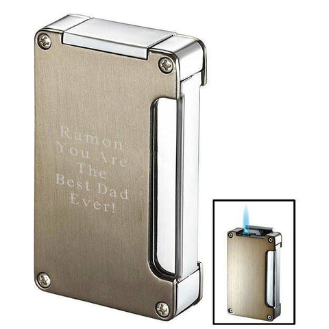 Zidane Satin Nickel and Chrome Lighter with Cigar Punch