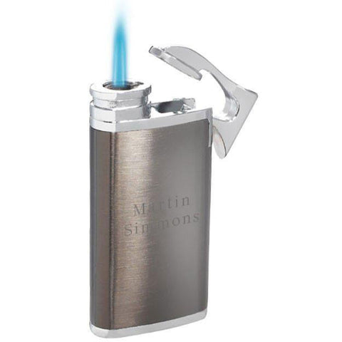 Engravable Iceman Gunmetal and Chrome Cigarette Lighter