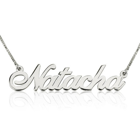 Personalized 14K White Gold Alegro Name Necklace