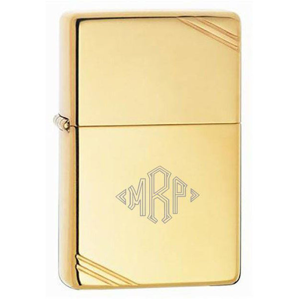 Vintage Engravable Zippo Lighter with Polished Brass