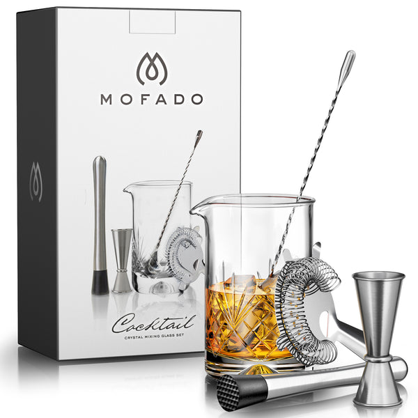 MOFADO Crystal Cocktail Mixing Glass Set - 5 Piece - 18oz 550ml Thick Bottom Lead Free Crystal Mixing Glass, Spoon, Jigger, Strainer & Muddler
