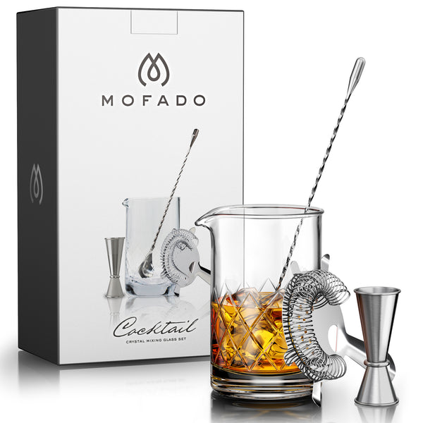 MOFADO Crystal Cocktail Mixing Glass Set - 4 Piece - 18oz 550ml Thick Bottom Lead Free Crystal Mixing Glass, Spoon, Jigger, Strainer