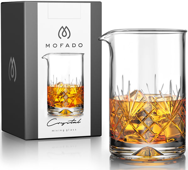 MOFADO Crystal Cocktail Mixing Glass - Large - 24oz 710ml - Thick Weighted Bottom - Premium Seamless Design - Professional Quality