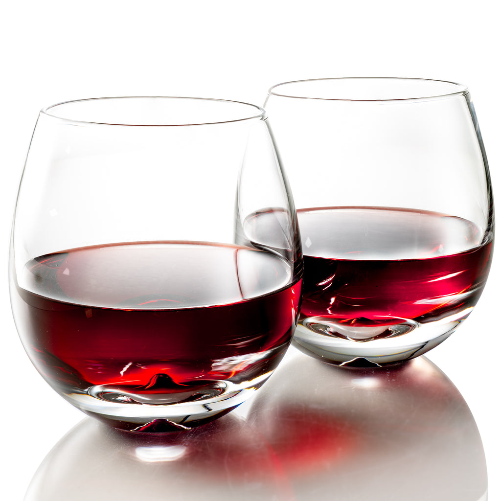 MOFADO Crystal Stemless Wine Glasses - Classic Elegance - 15oz (Set of 2) - Hand Blown Crystal - For Red and White Wine - NEW PRODUCT!