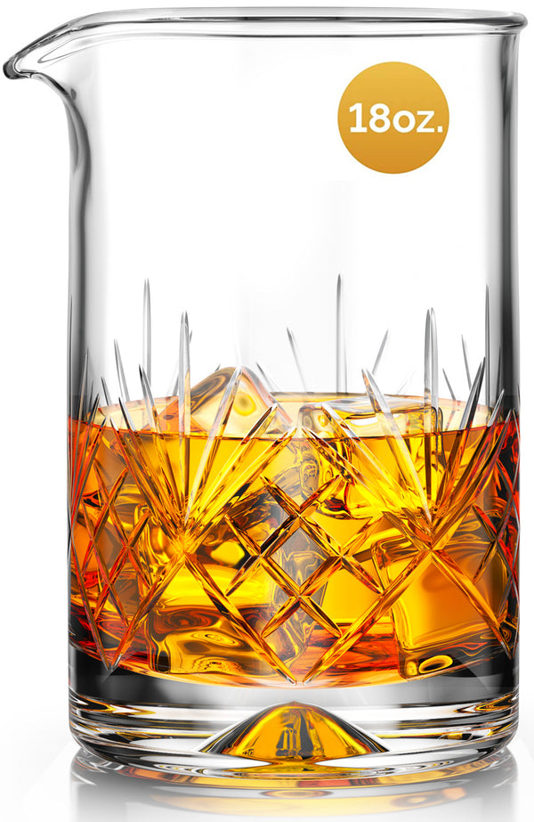 MOFADO Crystal Cocktail Mixing Glass - 18oz 550ml - Thick Weighted Bottom - Premium Seamless Design - Professional Quality