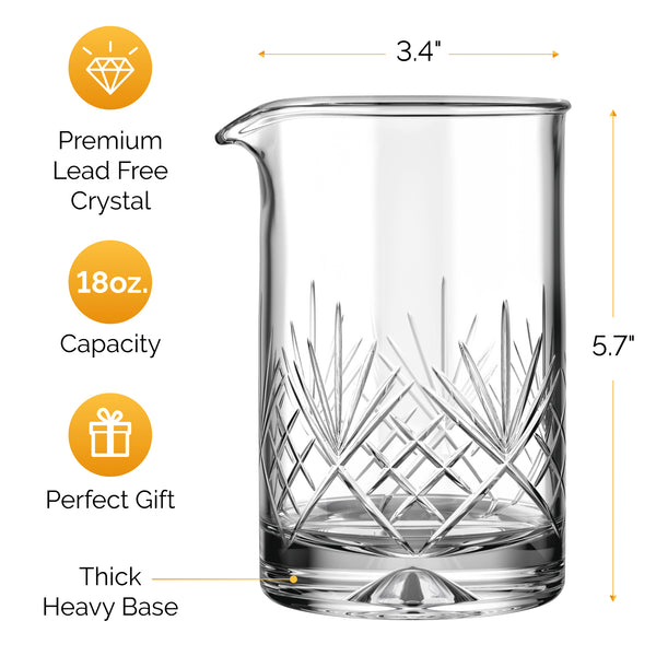 MOFADO Crystal Cocktail Mixing Glass - Regular - 18oz 550ml - Thick Weighted Bottom - Premium Seamless Design - Professional Quality