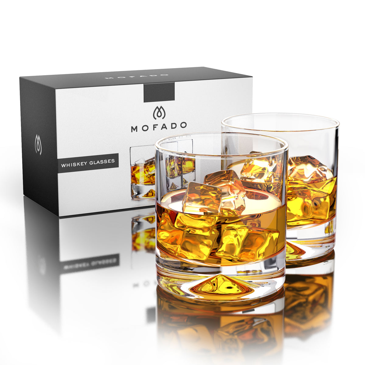 Premium Whiskey Glasses Lead Free Hand Blown Crystal Scotch Whisky Mofado