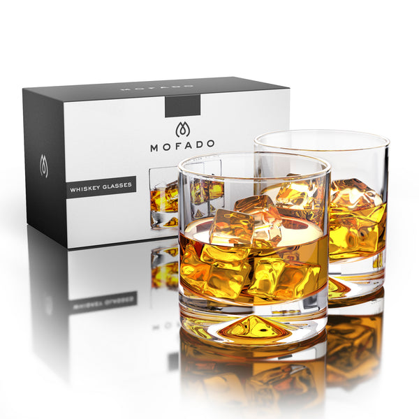 MOFADO Crystal Whiskey Glasses - Classic - 12oz (Set of 2) - Lead Free Hand Blown Crystal - Thick Weighted Bottom Rocks Glasses - Perfect for Scotch, Bourbon and Old Fashioned Cocktails