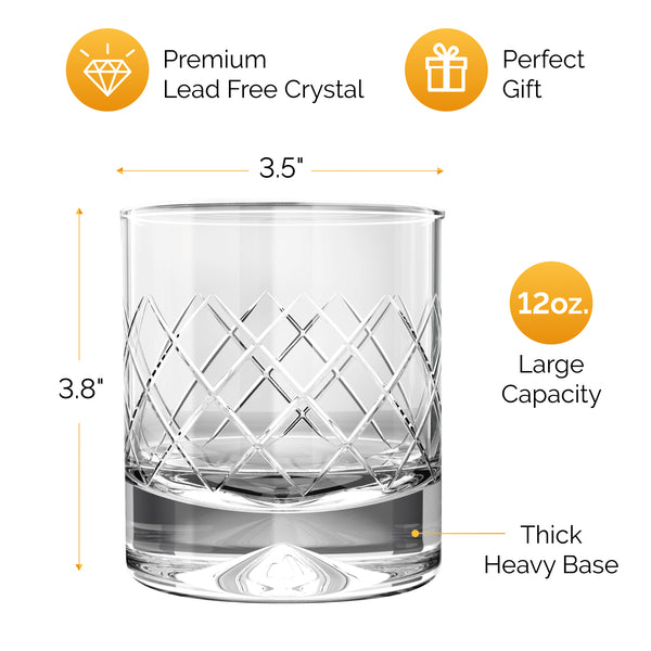 MOFADO Crystal Whiskey Glasses - Etched - 12oz Set of 2 - Lead Free Hand Blown Crystal - Thick Weighted Bottom Rocks Glasses - Perfect for Scotch, Bourbon, Manhattans, Old Fashioned's, Cocktails