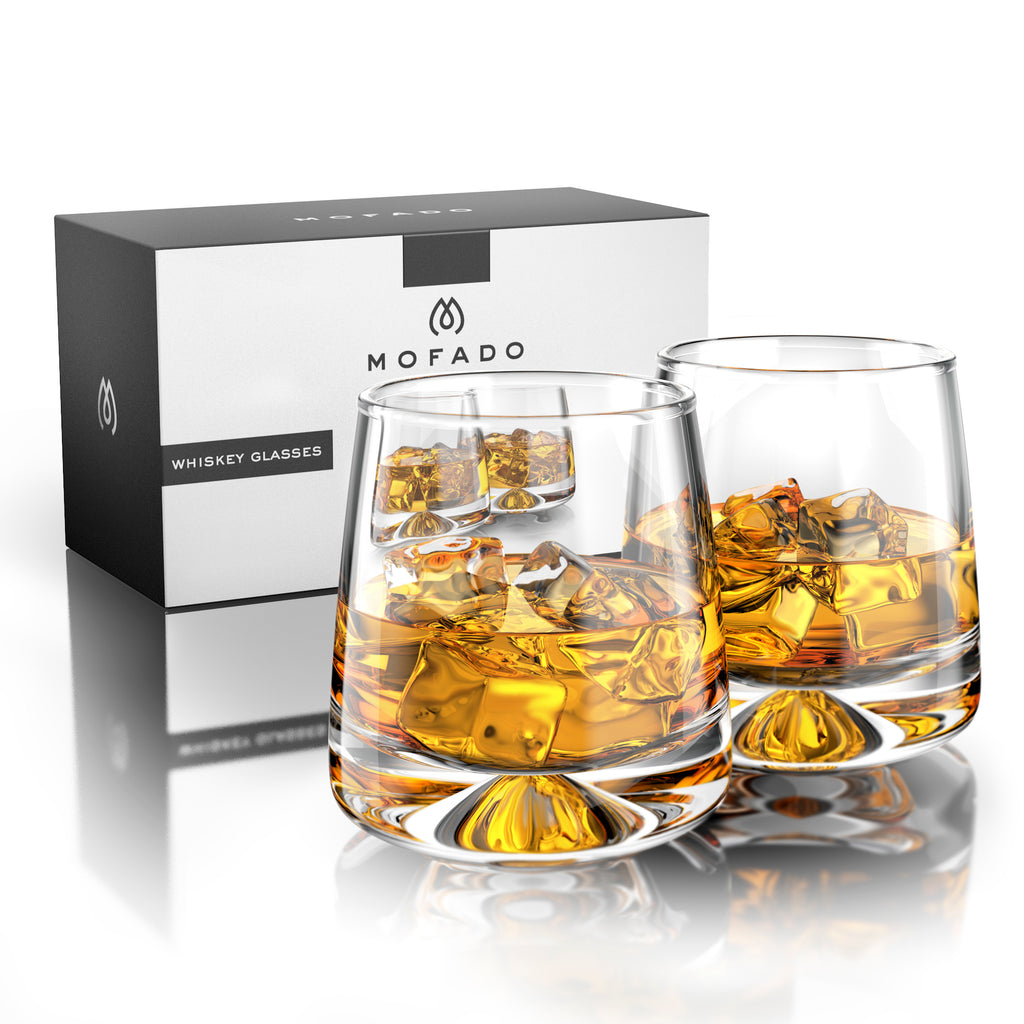 MOFADO Crystal Whiskey Glasses - Modern/Tapered - 11oz (Set of 2) - Lead Free Hand Blown Crystal - Thick Weighted Bottom Rocks Glasses - Perfect for Scotch, Bourbon, Manhattans, Old Fashioned, Cocktails