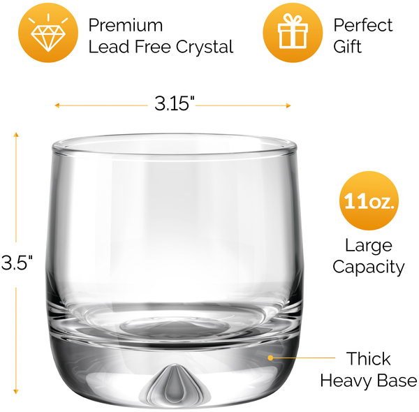 Premium Whiskey Glasses - Large 11oz (Set of 2) - Lead Free Hand Blown Crystal - Thick Weighted Bottom - Seamless Handmade Design - Perfect for Scotch, Bourbon, Manhattans and Old Fashioned Cocktails