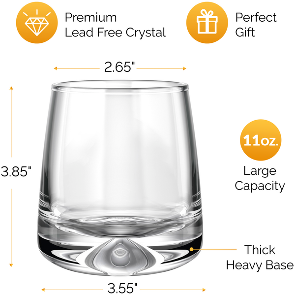 Premium Whiskey Glasses - Large (11oz) Set of 2 - Lead Free Hand Blown Crystal - Thick Weighted Base - Seamless Design - Perfect for Scotch, Bourbon, Manhattans, Old Fashioned, Cocktails, etc