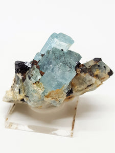 Aquamarine with Black Schorl Tourmaline and Orthoclase