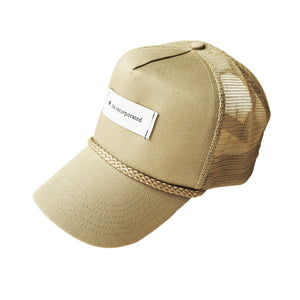 """THE LABEL"" TRUCKER HAT - KHAKI - The Incorporated"