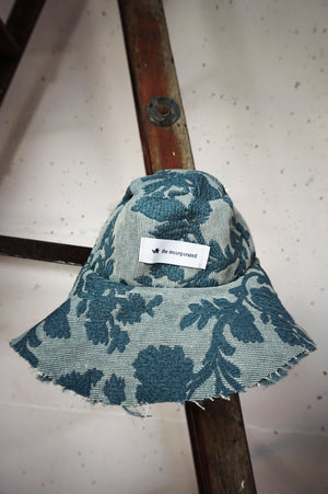 FLORAL UPHOLSTERY BUCKET HAT - BLUE