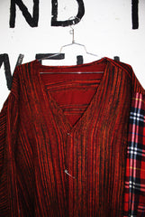 BLANKET CARDIGAN with FLANNEL SLEEVE