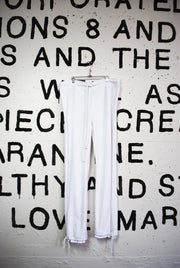 WHITE VELOUR TRACK PANTS