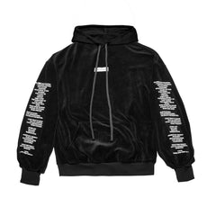 """THE LABEL"" VELOUR HOODY - BLACK - The Incorporated"