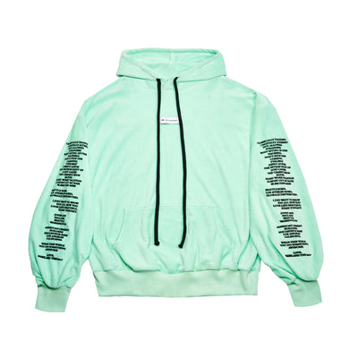 """THE LABEL"" VELOUR HOODY - MINT - The Incorporated"