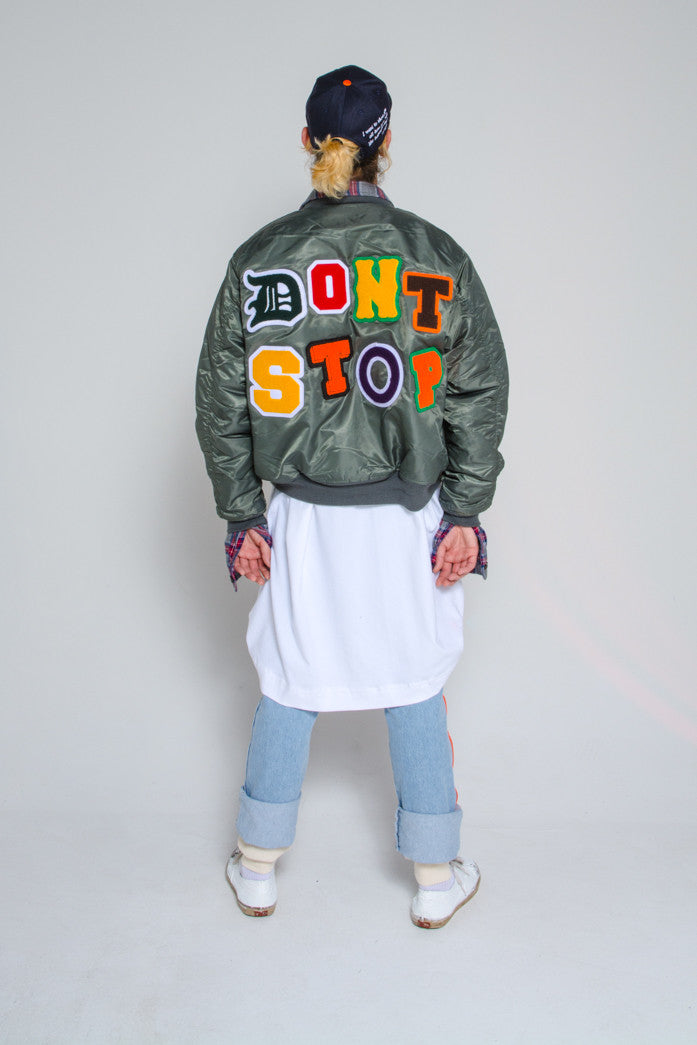 DON'T STOP BOMBER JACKET