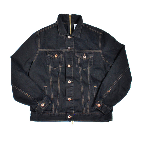 FULL BACK ZIP DENIM JACKET (BLACK)