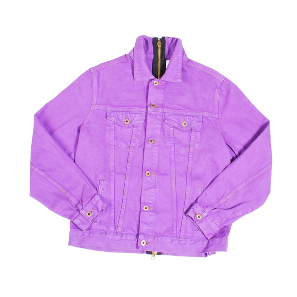 FULL BACK ZIP DENIM JACKET (PURPLE)