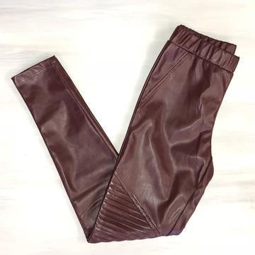 Wine Leather Moto Leggings