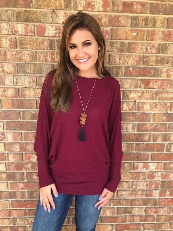 Burgundy Off the Shoulder Tunic