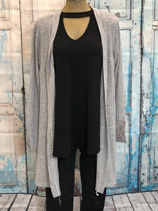 Grey Cardigan with Lace Sleeve Detail