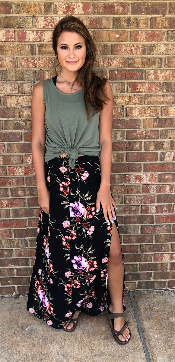 Black Tropical Skirt