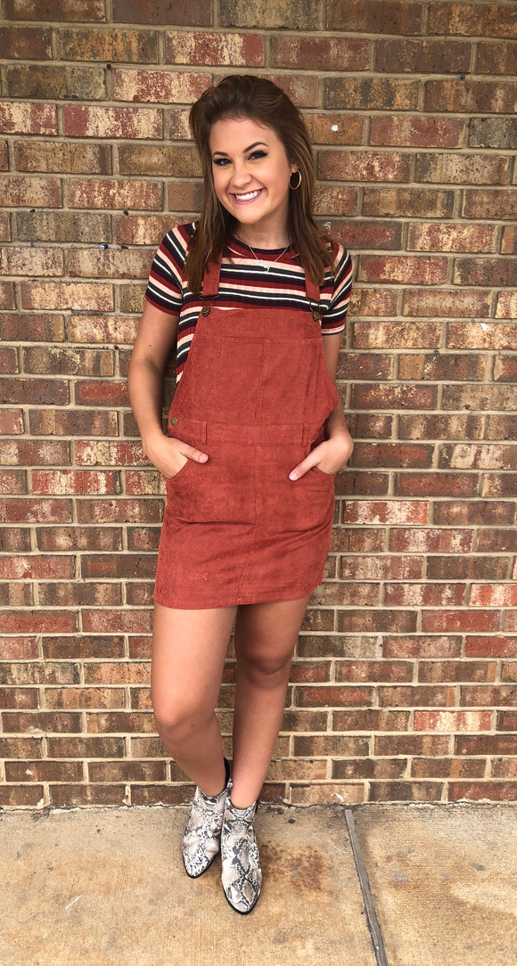 Corduroy Overall Dress in Marsala