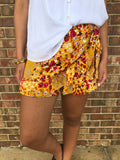 Floral Wrap Shorts, Honey