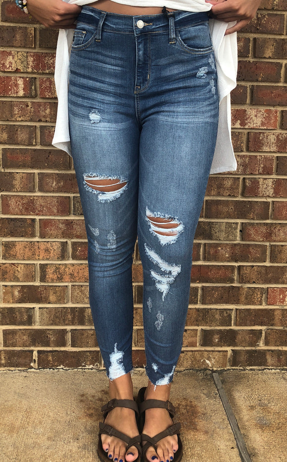 Destroyed Hem Skinny