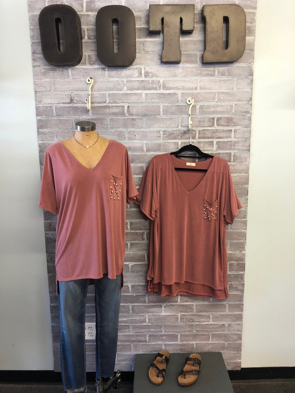 Burgundy V-Neck Pearl Tee, Plus