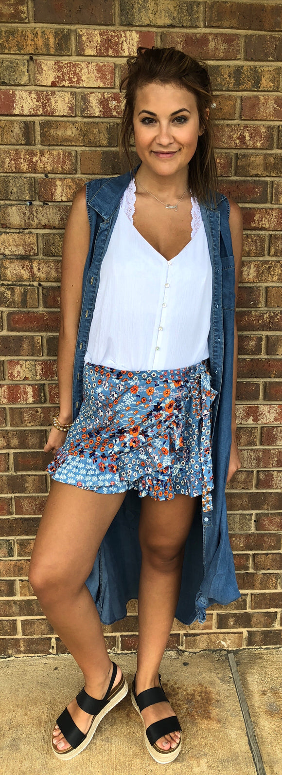 Floral Wrap Shorts, Denim