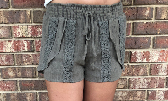 Olive Shorts with Lace Detail