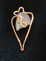 Unique Copper Pendant Abstract Handmade Large