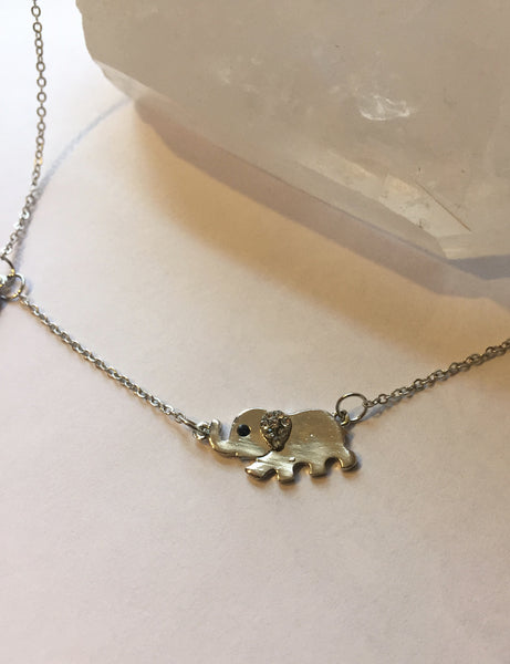 Cute Silver Lucky Elephant Necklace