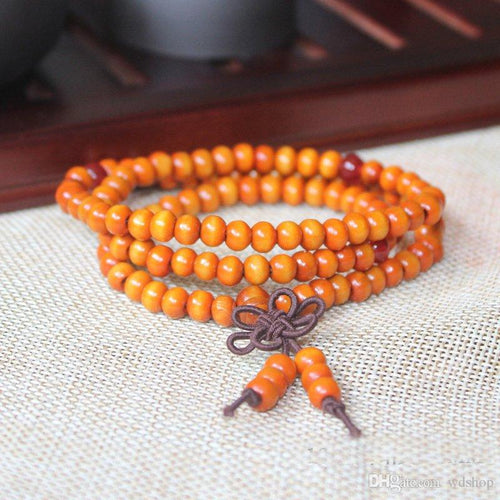 Natural Orange Wood Bead Bracelet