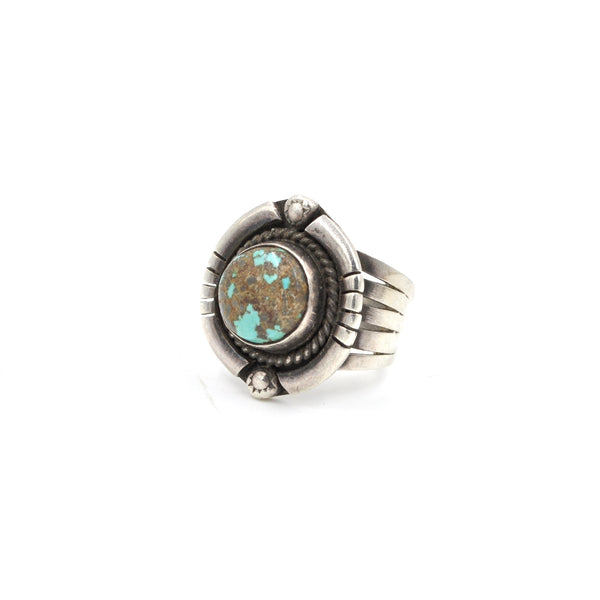 Southwestern Turquoise Sterling Silver Ring (925) Size: 6.5